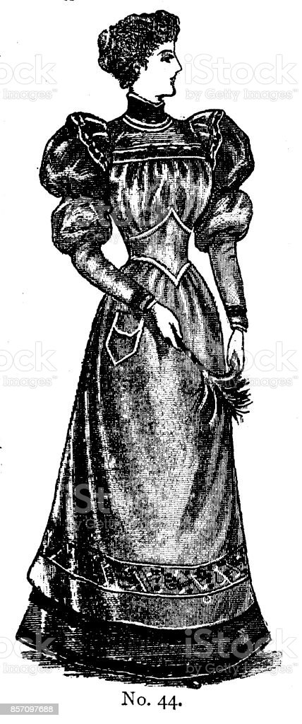 19th century ladies day dress with leg of mutton sleeves and high collar fashion plate; Victorian clothing and latest fashions 1893 royalty-free 19th century ladies day dress with leg of mutton sleeves and high collar fashion plate victorian clothing and latest fashions 1893 stock illustration - download image now