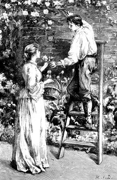 19th century love story illustration depicts a gardener on a ladder pruning roses and passing one down to a lady;Victorian love stories 1893 vector art illustration