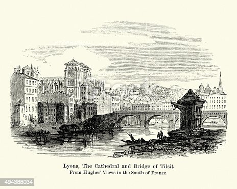 Vintage engraving of Lyons, The Cathedral and Bridge of Tilsit, in east-central France, in the Rhone-Alpes region. 1884