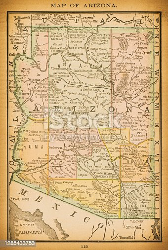 19th century map of Arizona. Published in New Dollar Atlas of the United States and Dominion of Canada. (Rand McNally & Co's, Chicago, 1884).