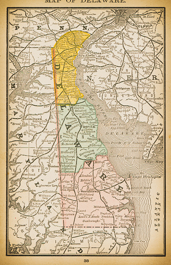 19th century map of Delaware