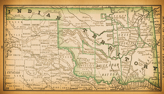 19th century map of Indian Territory. Published in New Dollar Atlas of the United States and Dominion of Canada. (Rand McNally & Co's, Chicago, 1884).