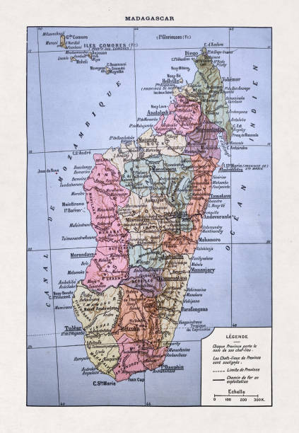19th century map of Madagascar vector art illustration