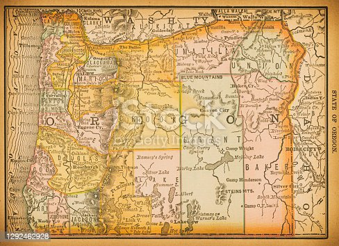 19th century map of Oregon. Published in New Dollar Atlas of the United States and Dominion of Canada. (Rand McNally & Co's, Chicago, 1884).
