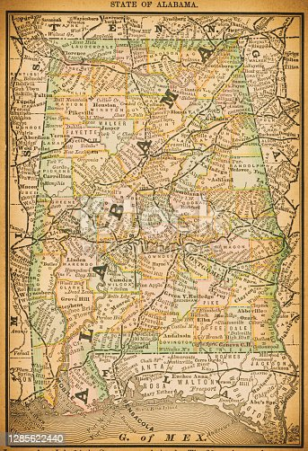 19th century map of State of Alabama. Published in New Dollar Atlas of the United States and Dominion of Canada. (Rand McNally & Co's, Chicago, 1884).