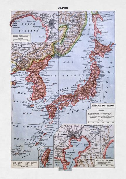 19th century map of the Empire of Japan vector art illustration