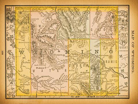 19th century map of Wyoming