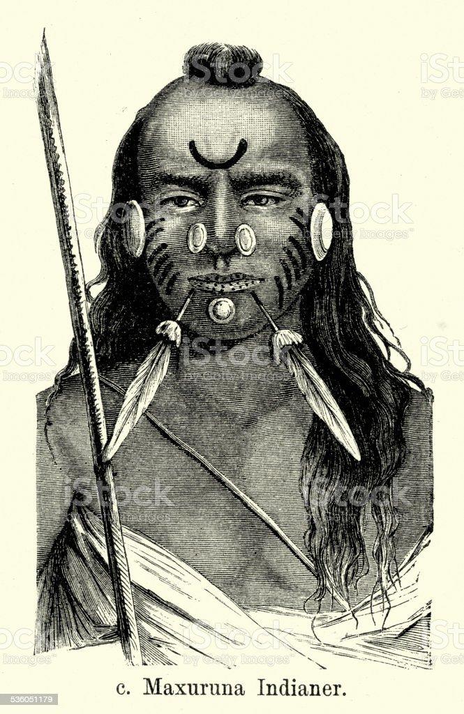 19th Century Maxuruna Indian Man vector art illustration