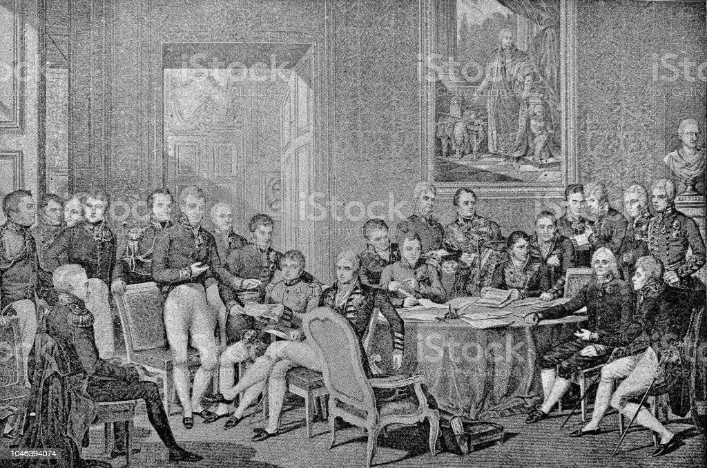 19th century milestones: The Congress of Vienna - 1814 - Illustrazione stock royalty-free di 1890-1899