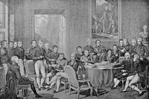 illustrazioni stock, clip art, cartoni animati e icone di tendenza di 19th century milestones: the congress of vienna - 1814 - vienna congress