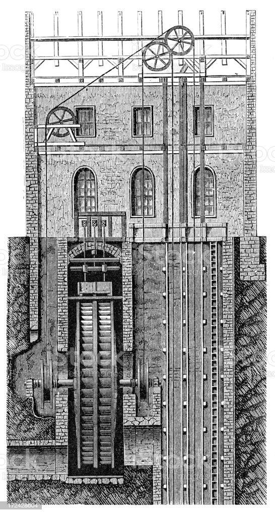 19th Century Mine Windlass vector art illustration