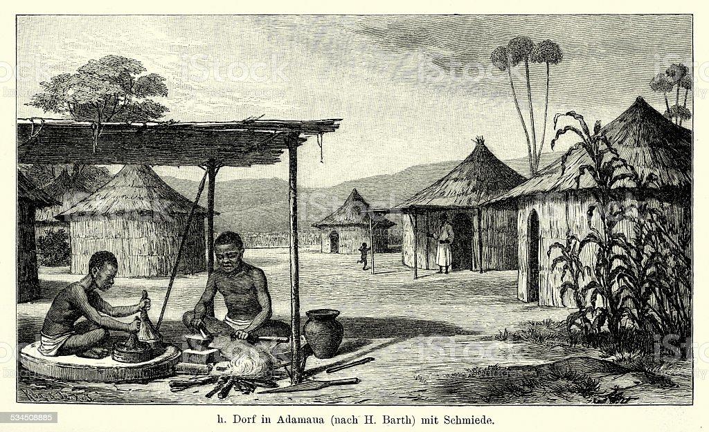 19th Century Nigeria - village in Adamawa vector art illustration