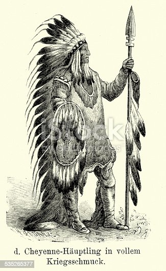 Vintage engraving of a Cheyenne chief. The Cheyenne are one of the groups of indigenous people of the Great Plains and their language is of the Algonquian language family. Ferdinand Hirts Geographische Bildertafeln,1886.