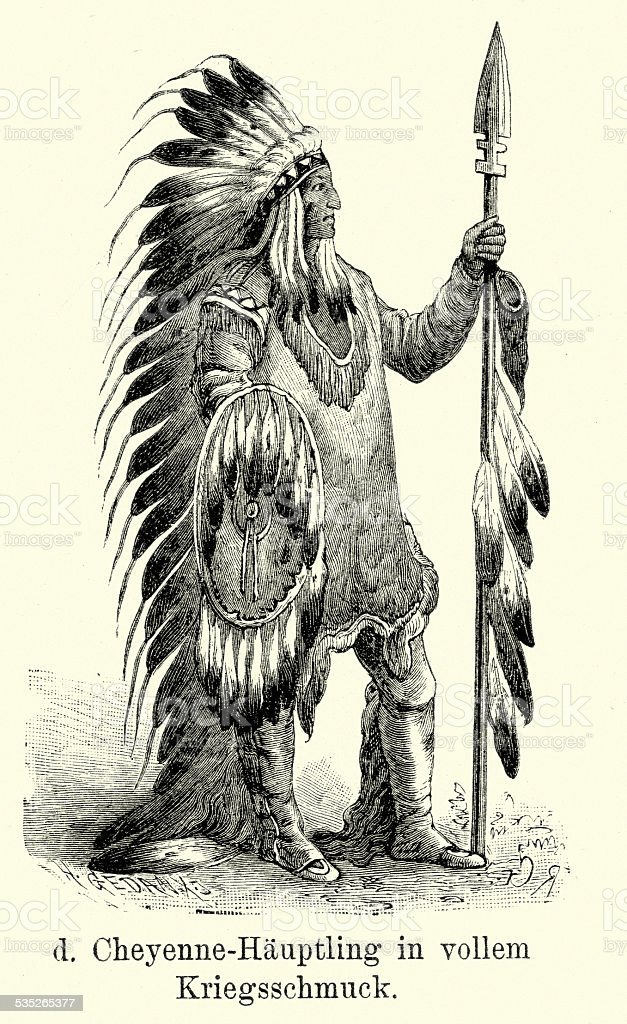 19th Century North America -  Cheyenne chief vector art illustration