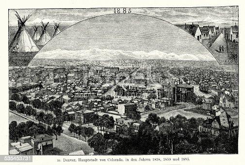 Vintage engraving of Denver, Colorado. Ferdinand Hirts Geographische Bildertafeln,1886.