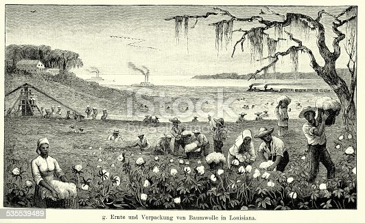 Vintage engraving of African Americans harvesting and packing of cotton in Louisiana. Ferdinand Hirts Geographische Bildertafeln,1886.