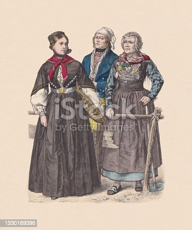 istock 19th century, North German costumes, hand-colored wood engraving, published c.1880 1330189395