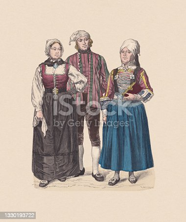 istock 19th century, North German costumes, hand-colored wood engraving, published c.1880 1330193722