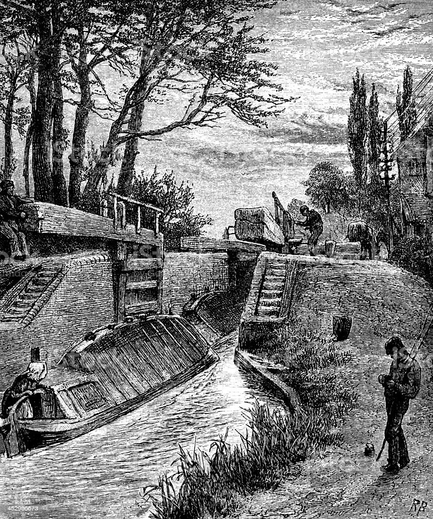 19th century of a canal lock near Berkhampstead, Hertfordshire, vector art illustration