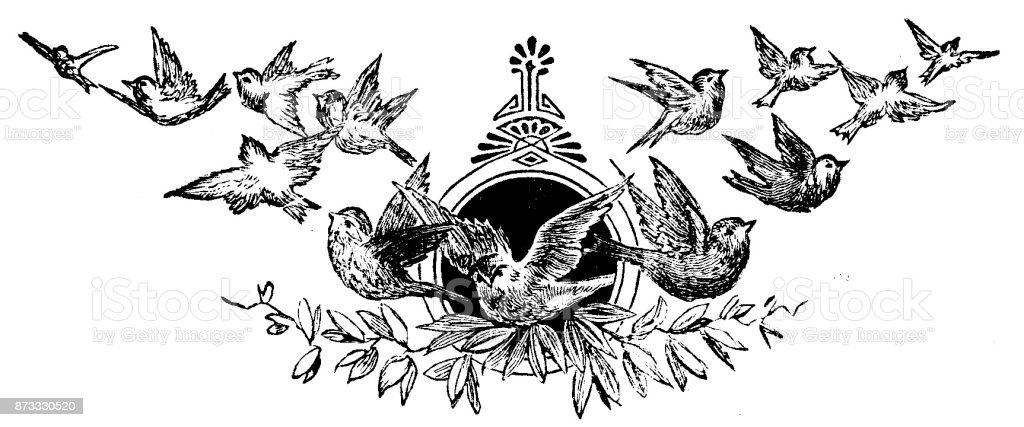 19th century page heading engraving of a flock of birds flying away from a dark circle; Victorian book page decorations1890 vector art illustration