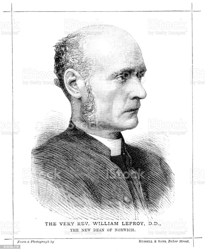 19th century portrait of the very Rev. William Lefroy D.D. Dean of Norwich; Victorian church clergy; Liverpool, Warrington, Norwich vector art illustration