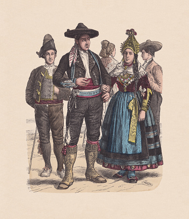 19th century, Spanish costumes, hand-colored wood engraving, published ca. 1880