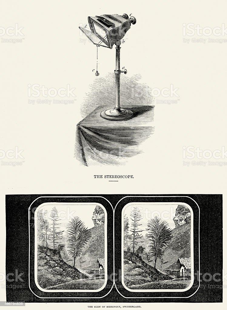 19 ème siècle Stereoscope et toboggan - Illustration vectorielle