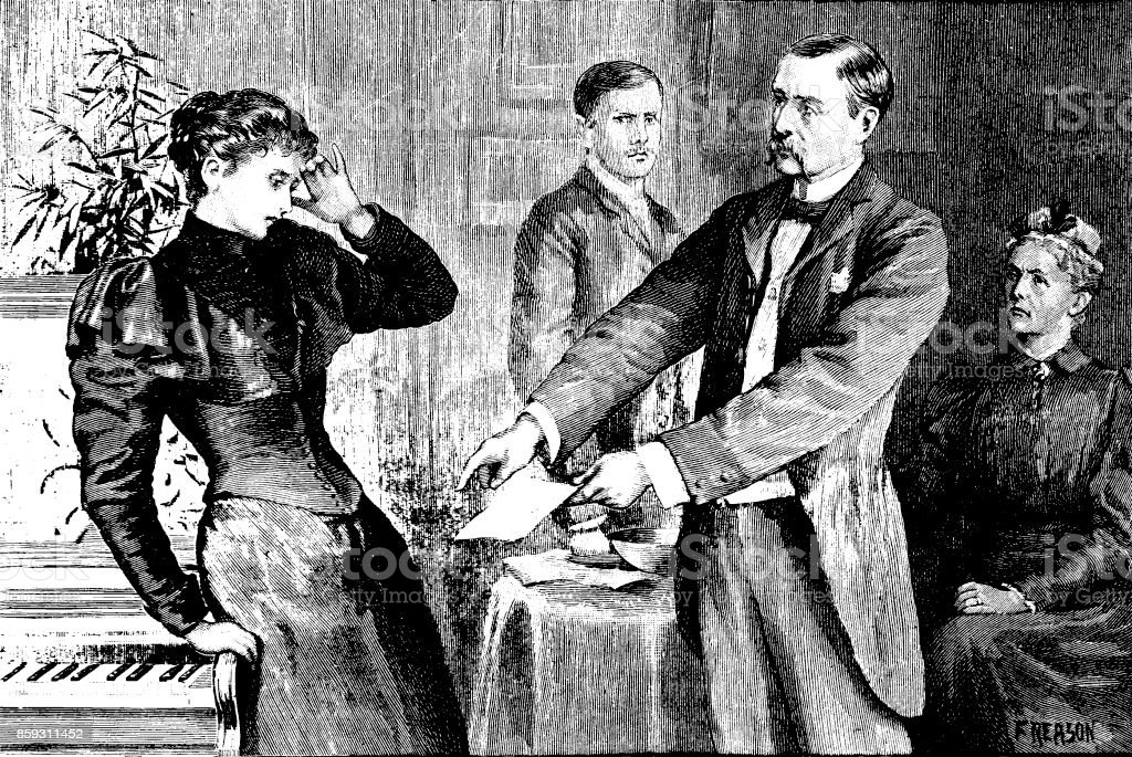 19th century story illustration depicts a man showing a letter to a startled woman; Victorian melodrama; artist Florence Reason 1893 vector art illustration