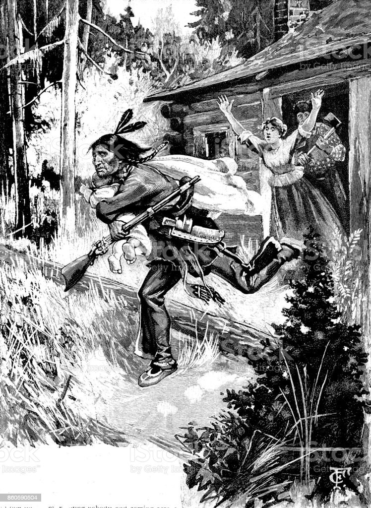 19th century story illustration depicts a native Indian running out of a log cabin with a baby in his arms and the parents shouting after him; Victorian tales of melodrama and settling in the New World ; 1893 vector art illustration