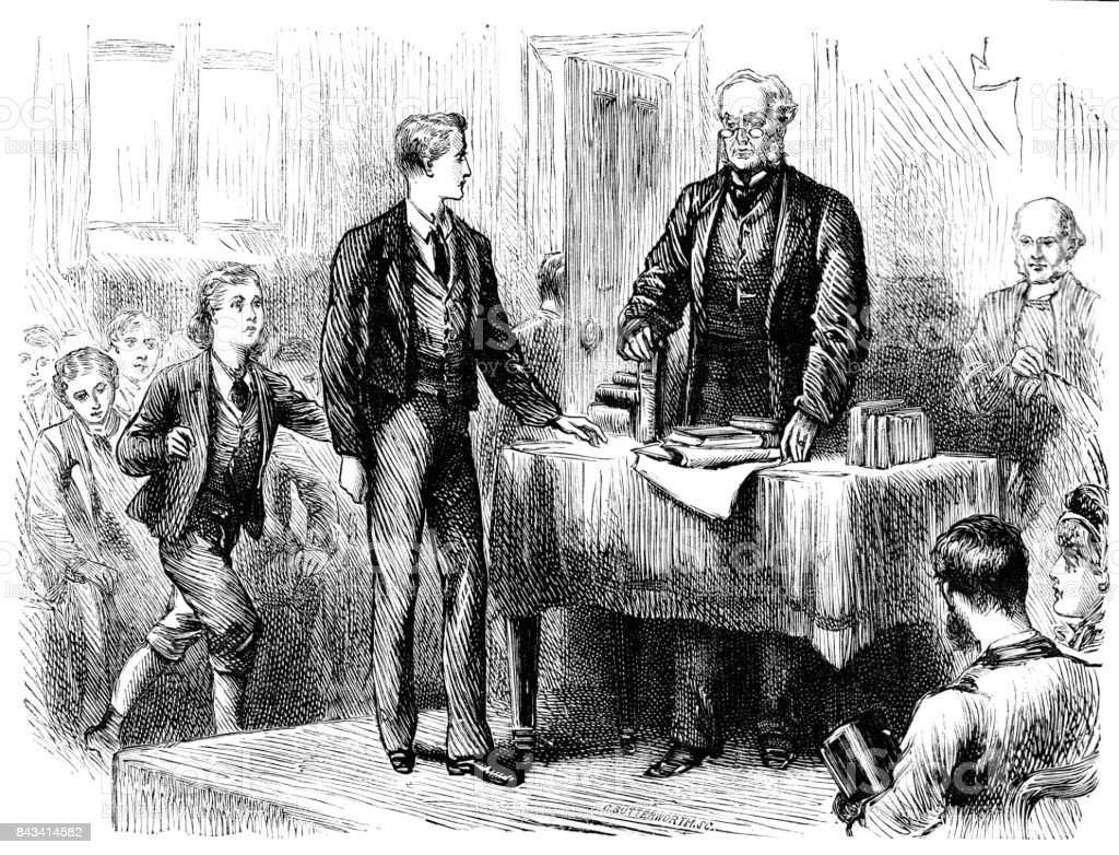 19th century story illustration of a man stood before a desk with books on while a group of boys sit to one side; Victorian schools and education 1883 vector art illustration