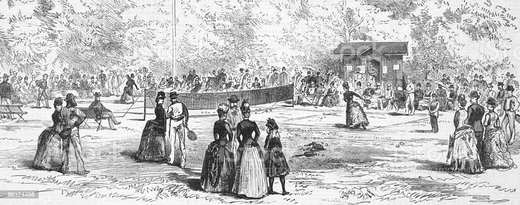 19th Century Tennis in Germany royalty-free 19th century tennis in germany stock vector art & more images of activity
