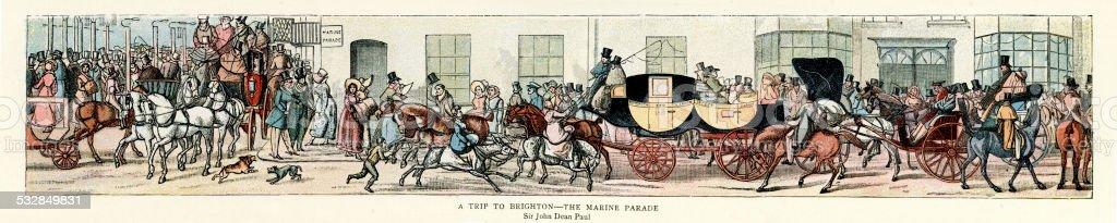 19th Century Transport - A Trip to Brighton vector art illustration