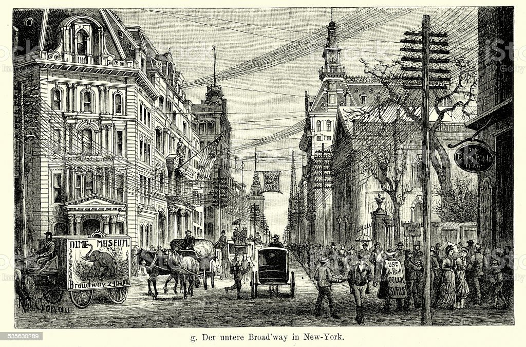 19th Century USA - Lower Broadway in New York vector art illustration