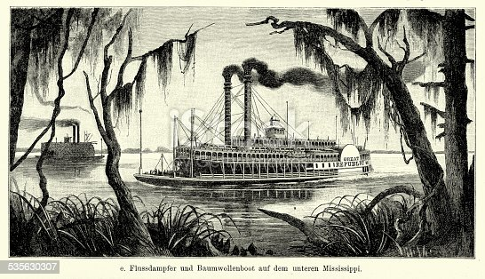 Vintage engraving of Riverboat and cotton boat on the lower Mississippi. Ferdinand Hirts Geographische Bildertafeln,1886.
