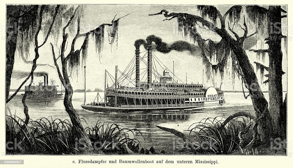 19th Century USA - Riverboat on the lower Mississippi vector art illustration
