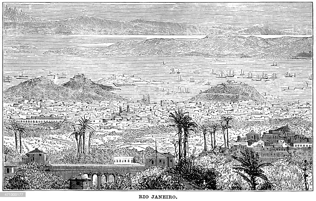 19th century view of Rio de Janeiro vector art illustration