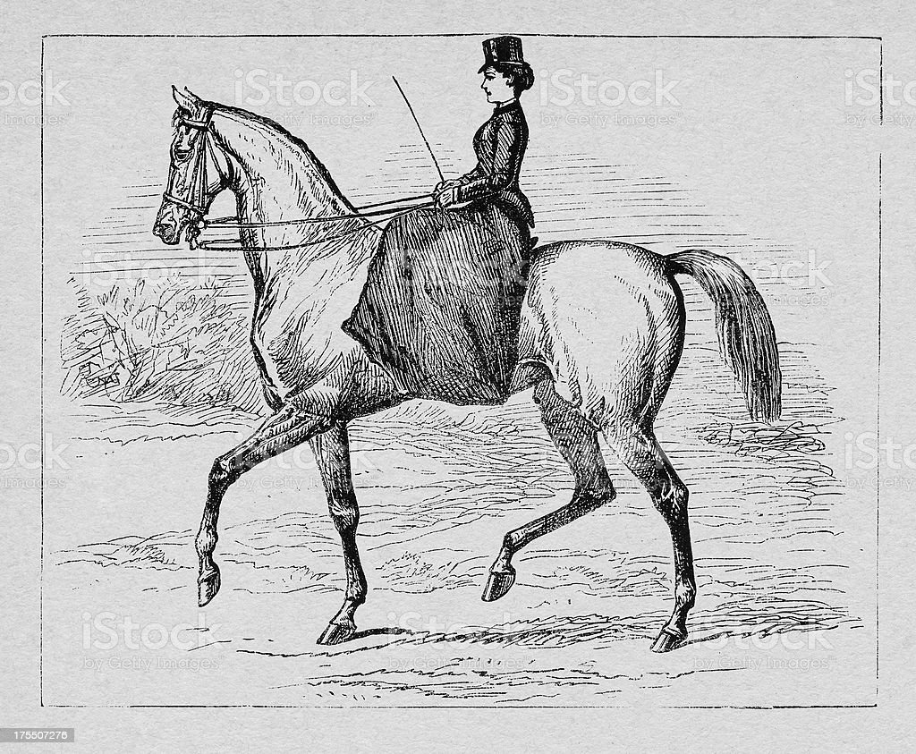 19th century woman riding with a horse vector art illustration