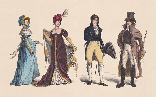 19th century, Women's and Men's clothes, hand-colored woodcut, published c.1880