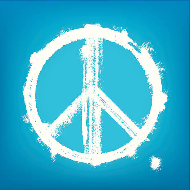1-credit peace sign Highly detailed vector illustration of painted peace sign. symbols of peace stock illustrations