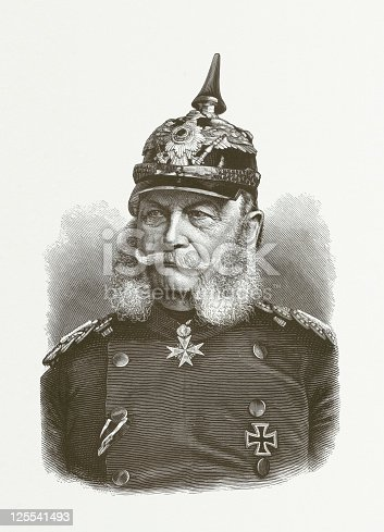 William I. (Wilhelm Friedrich Ludwig) 1797-1888, was regent since 1858 and since 1861 King of Prussia and German Emperor from 1871. Woodcut engraving after a photograph from the late 1870s, published in 1881.