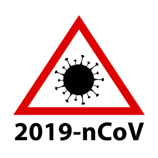 2019-ncov covid-19 coronavirus pandemic panel. red danger icon. - covid testing stock illustrations