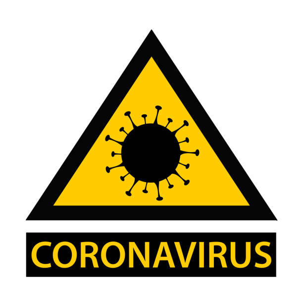2019-ncov covid-19 coronavirus pandemic panel. yellow and black danger icon. - covid testing stock illustrations
