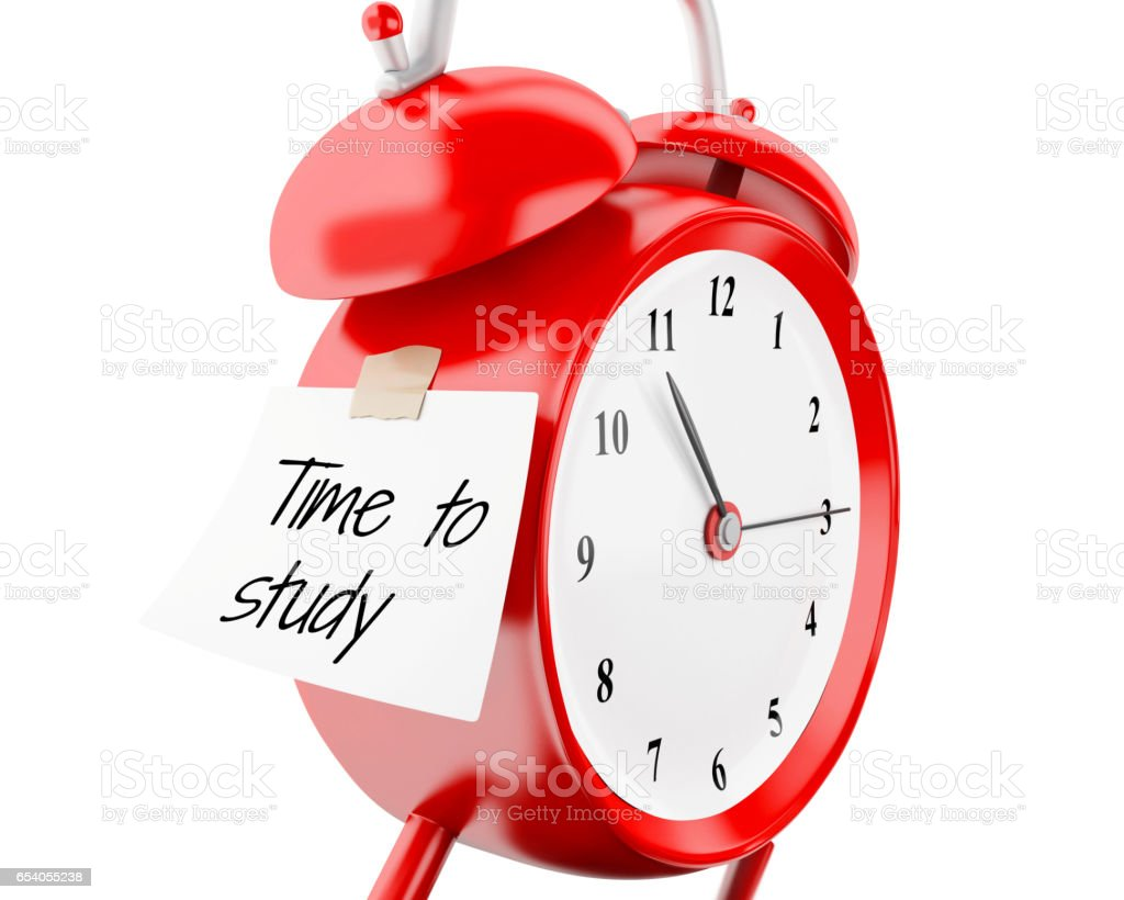 d alarm clock sticky paper written time to study stock  3d alarm clock sticky paper written time to study royalty stock