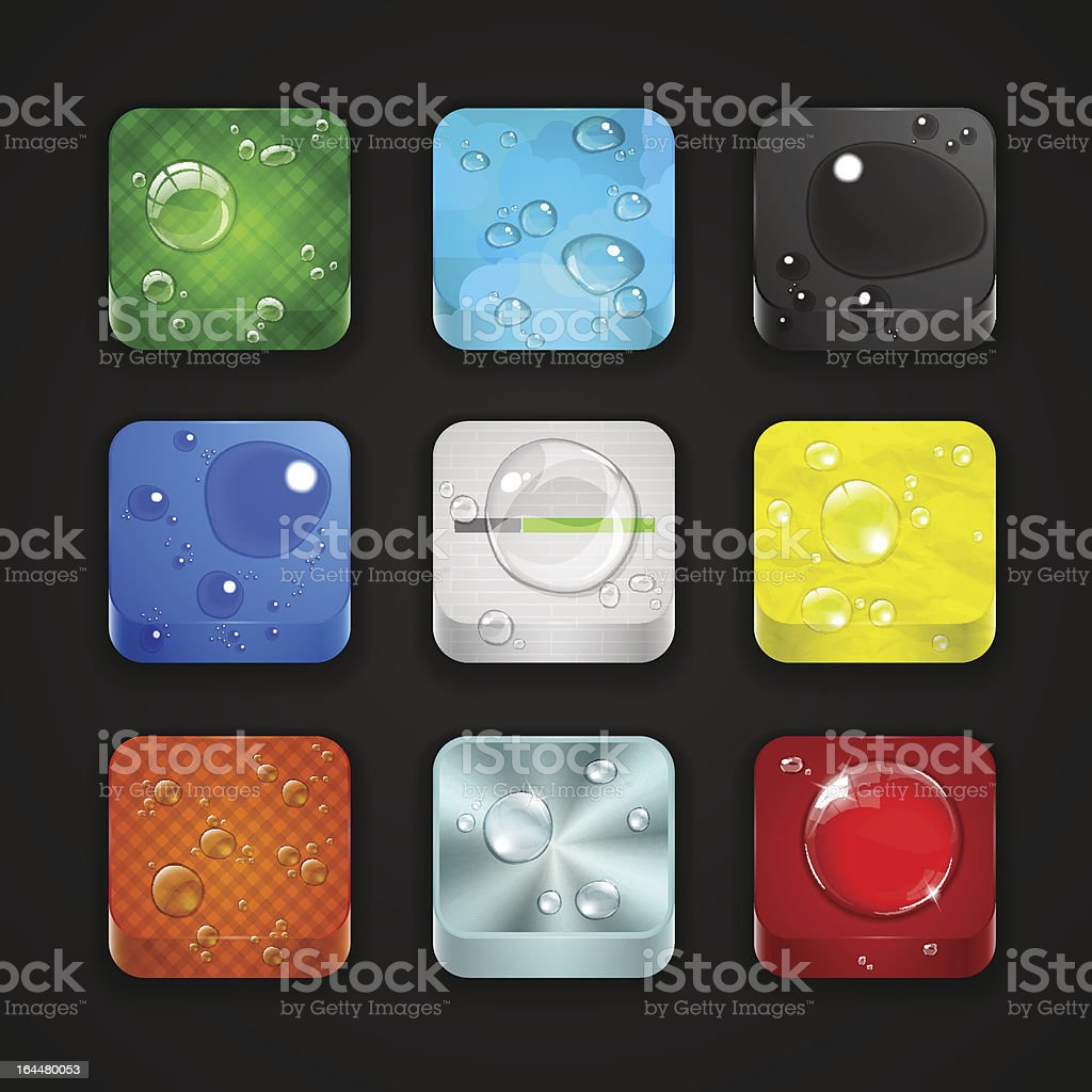3d app buttons with water drops royalty-free stock vector art