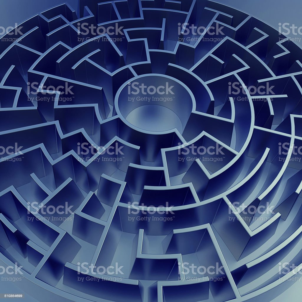 3d blue abstract round maze background vector art illustration