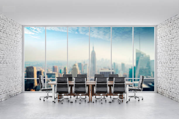 illustrations, cliparts, dessins animés et icônes de 3d bureau de conférence avec grande fenêtre et murs de briques blanches - architecture intérieure beton