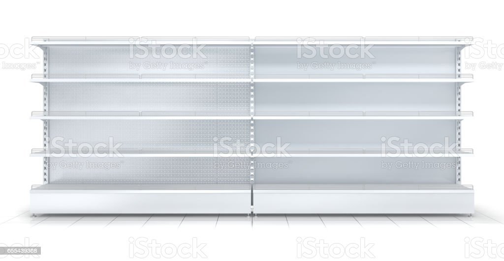 3d empty supermarket shelf vector art illustration