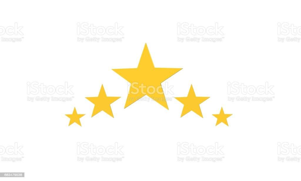 3d five stars on white  background. vector art illustration