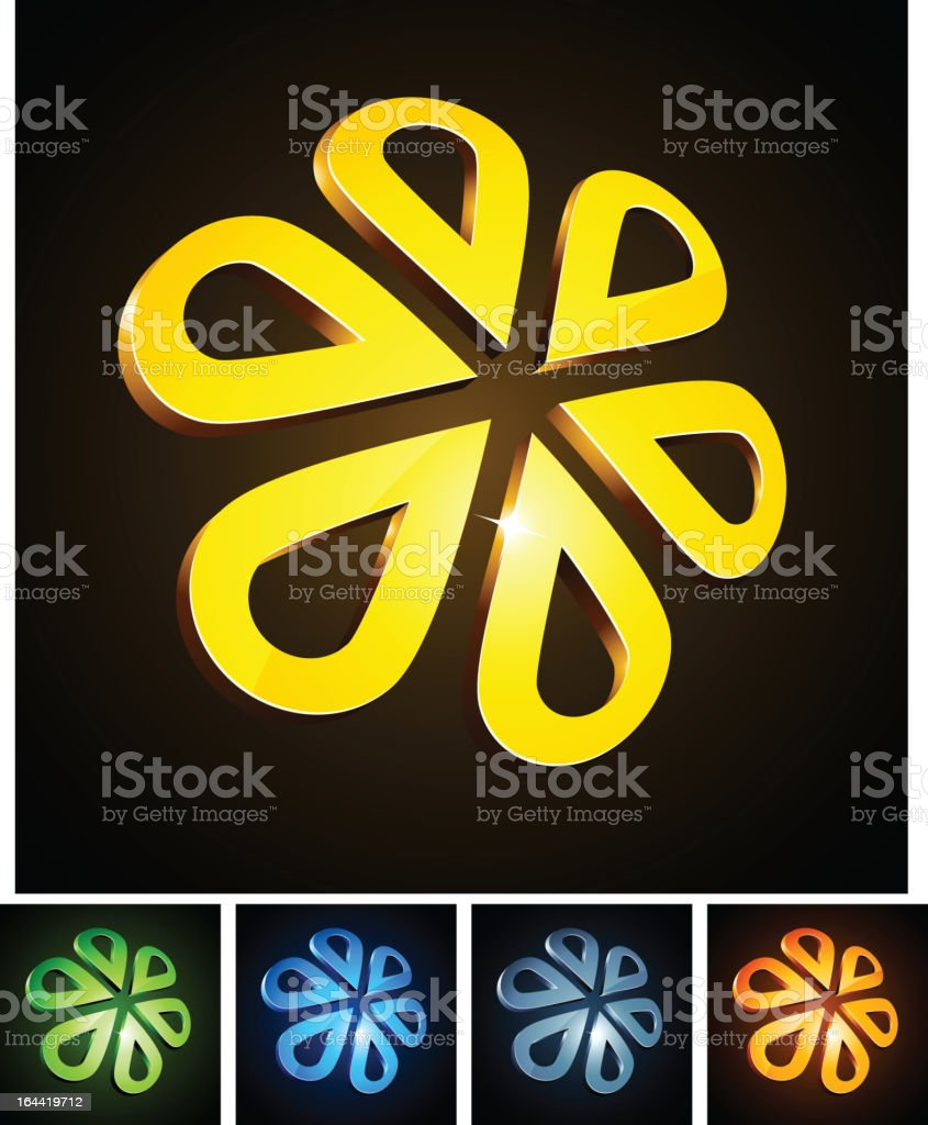 3d flower emblems. royalty-free stock vector art