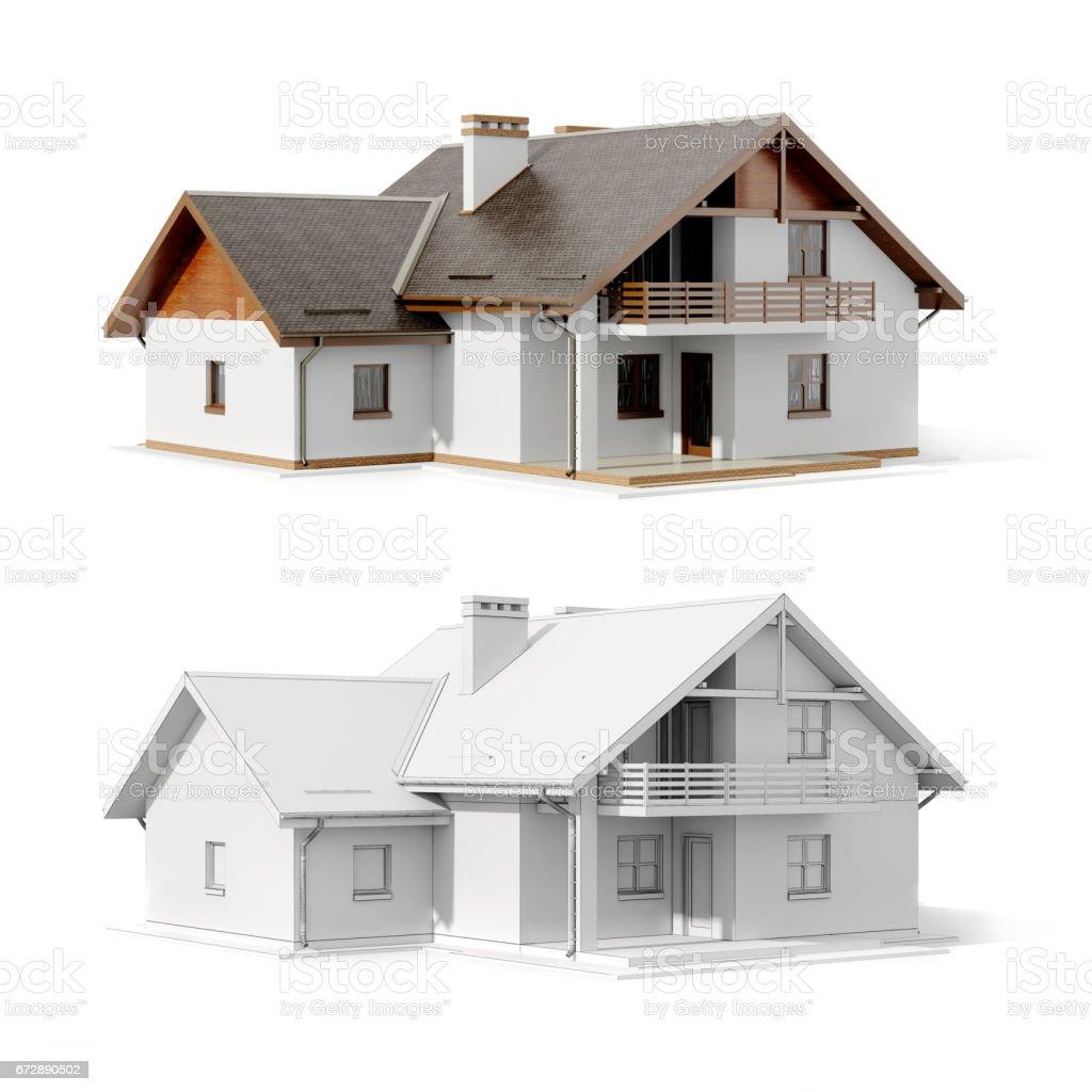 3d house plan on white background vector art illustration